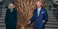 Spaß auf Distanz: Charles bewundert TV-Thron-Attrappe