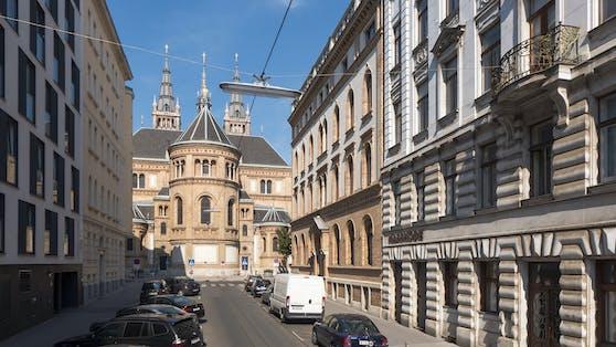 Die Rückseite der Breitenfelder Pfarrkirche von der Florianigasse aus gesehen, Wien-Josefstadt