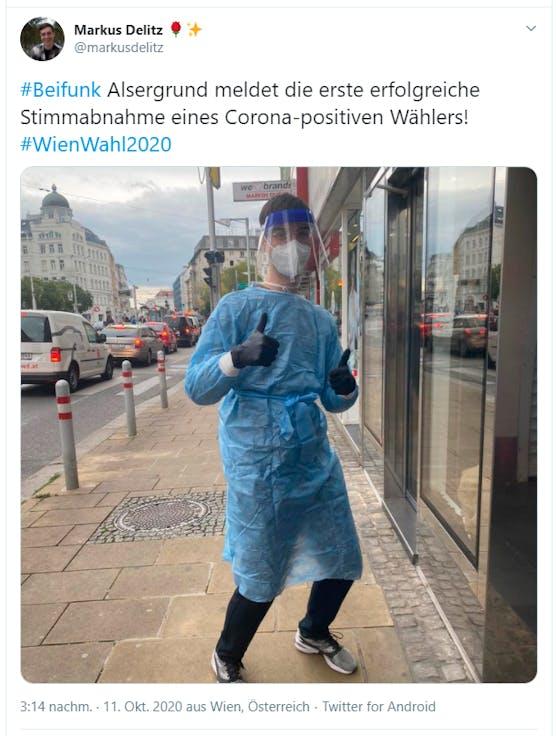 """""""Alsergrund meldet die erste erfolgreiche Stimmabnahme eines Corona-positiven Wählers!"""""""