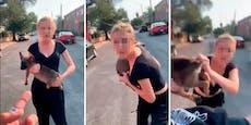 Frau attackiert Rapper und schleudert Welpen auf ihn
