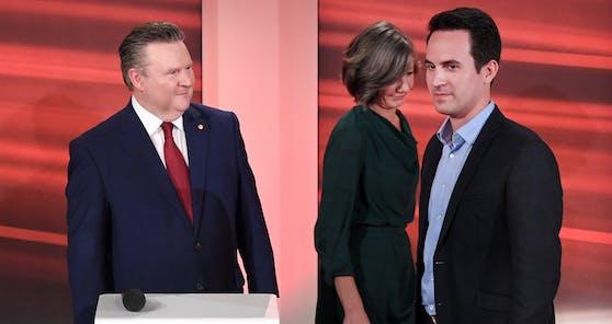 Ist er der Richtige? Ludwigs prüfender Blick auf Neos-Chef Wiederkehr.