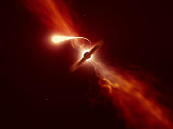 Forscher beobachteten, wie ein Schwarzes Loch einen Stern zerstörte: eine sogenannte Spaghettisierung.