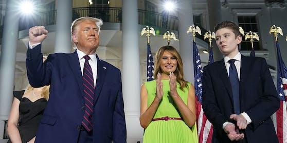 Eine schrecklich positive Familie: US-Präsident Donald Trump, Ehefrau Melania und Sohn Barron