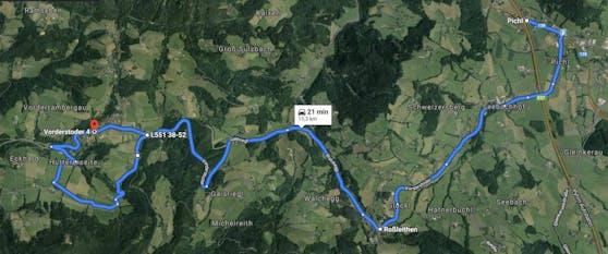 Auf dieser Route sollen am 25. Oktober 900 Autos zeigen, was bei einer Anbindung von Vorderstoder ans Skigebiet Hinterstoder passieren würde.