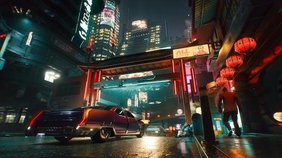 Night City kann mit heißen Schlitten erkundet werden.