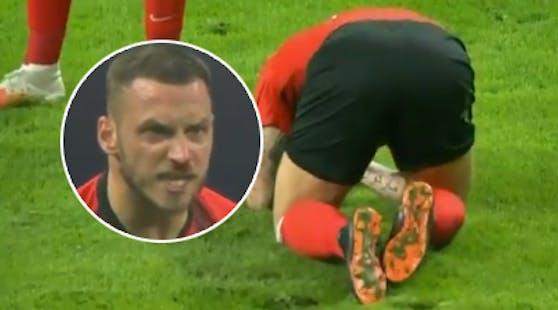 Marko Arnautovic verletzt am Boden