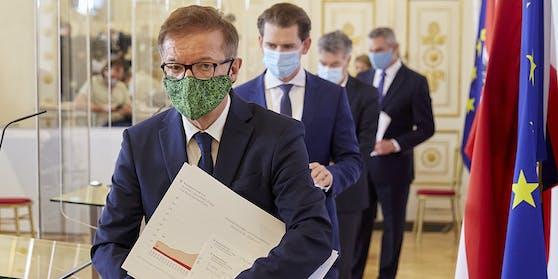 """Das """"Virologische Quartett"""": Anschober, Kurz, Kogler und Nehammer."""
