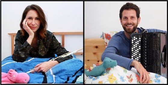 """Das Duo """"luft:zug"""": die Querflötistin Nicole Heibl und Sebastian Dvorak-Novak am Akkordeon"""