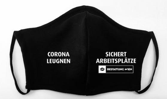 """Die Maske """"Corona leugnen sichert Arbeitsplätze"""" begeistert das Netz."""