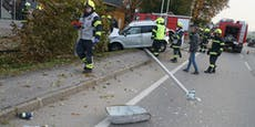 Autofahrerin fällt bei Crash Baum und Lichtmasten