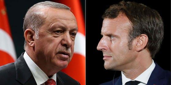 Recep Tayyip Erdogan (links) sagte, Emmanuel Macron gehöre in psychologische Behandlung.