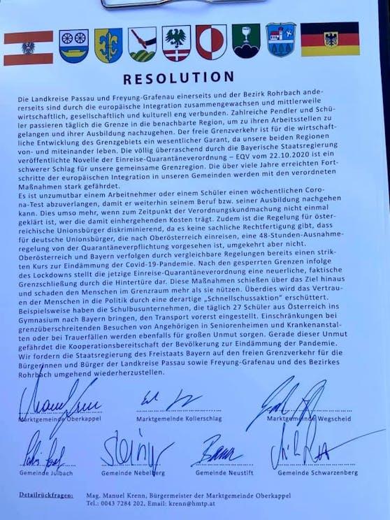 Mit diesem Schreiben protestieren die Gemeinden.