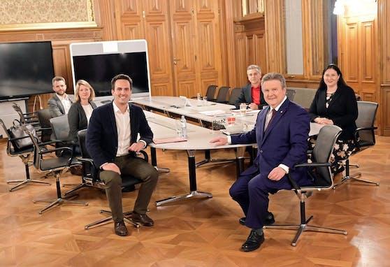 Noch laufen die Verhandlungen zwischen SPÖ-Chef Michael Ludwig (re.) und Neos-Obmann Christoph Wiederkehr.