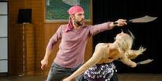 Silvia Schneider verletzt Tanzpartner mit Schwert