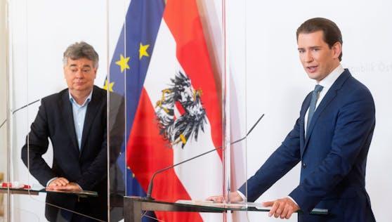 Sebastian Kurz und Werner Kogler sprechen zu den Österreichern.