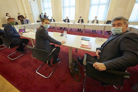 Treffen der Bundesregierung mit Experten zur Ressourcenlage (Intensivkapazitäten) an Österreichs Krankenhäusern am 29. Oktober 2020