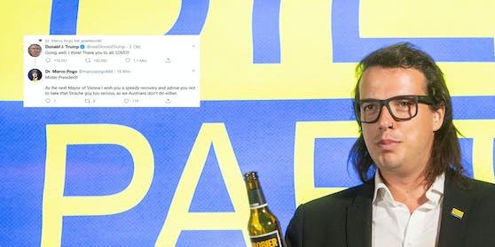 Bierparteichef Dominik Wlazny antwortet Trump und macht sich über Heinz-Christian Strache lustig.