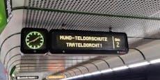 """Wiener Linien fordern """"Mund-Teldorschutz Trateldorcht!"""""""