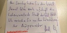 """Michael Ludwig wirbt mit """"handgeschriebenen"""" Zetteln"""