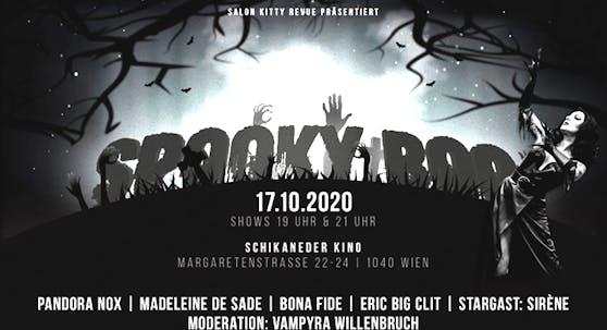 Die Spooky Boo-Aufführungen der Salon Kitty Revue finden am 17. Oktober 2020 jeweils um 19.00 Uhr und um 21.00 Uhr im Schikaneder Kino statt.