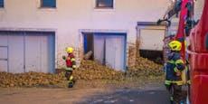 Zuckerrüben durchschlagen zwei Garagentore