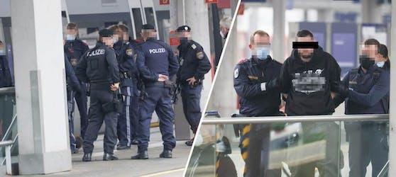 Die Polizei hat Montagnachmittag einen Mann am Linzer Hauptbahnhof festgenommen und abgeführt.