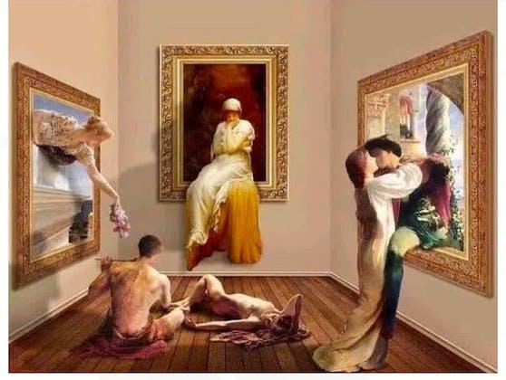 """Wenn keiner hinschaut, fällt die Kunst schon mal aus dem Rahmen: Ungestört dürfen sich Dicksees """"Romeo und Julia"""" (re.) ihrer Liebe hingeben, während die Pforten der Museen für die Dauer des Lockdowns ein weiteres Mal geschlossen werden."""