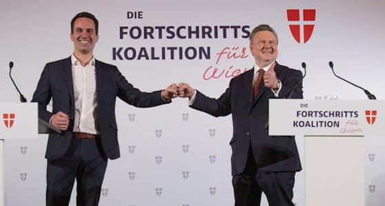 SPÖ und NEOS bilden nach der letzten Wahl zum Gemeinderat in Wien eine Koallition.