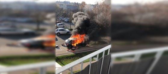 Autobrand in der Wiener Donaustadt