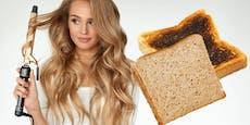Haarstylistin testet Hitzeschutz auf Toast