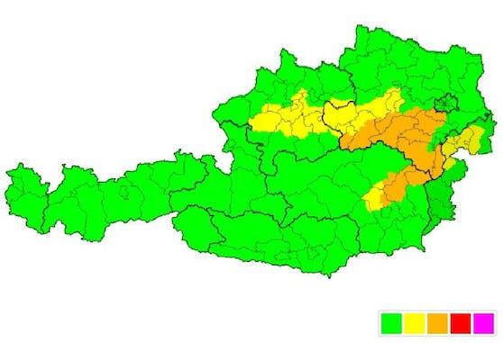 In diesen Bereichen ist vermehrt auf starken Wind zu achten.