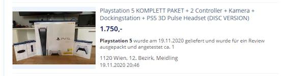 1.750 Euro verlangt ein Wiener für sein PlayStation 5 Komplettpaket