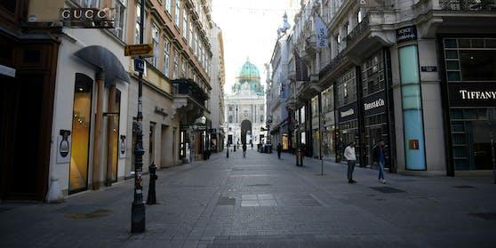 Die Situation am Kohlmarkt in der Wiener Innenstadt während des 2. Lockdowns aufgenommen am Dienstag, 17. November 2020.