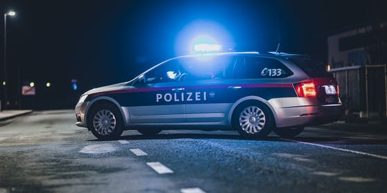 Ein Streifenwagen der Polizei mit eingeschaltetem Blaulicht. (Symbolbild)