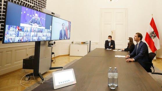 Kanzler Kurz bei einer Videokonferenz mit Vertretern der EU-Mitgliedsstaaten
