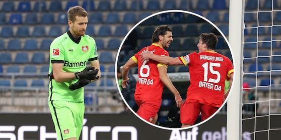 Lukas Hradecky bedankt sich bei Aleksandar Dragovic.