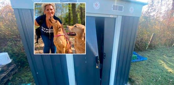 Nicole Lachmair, hier im Bild mit den Hündinnen Moon und Pepper, versteht die Welt nicht mehr. Eine der Hütten der Hundeschule war aufgebrochen worden.