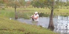 Mann riskiert sein Leben, rettet Hund vor Alligator