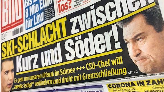 """""""Ski-Schlacht zwischen Kurz und Söder"""", titelt die deutsche """"Bild""""."""