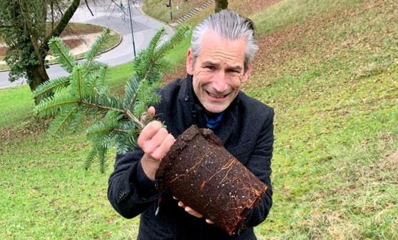 Lorenz Potocnik mit dem neu gepflanzten Baum am Bauernberg.