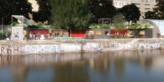 Ein Abschnitt des Wiener Donaukanals