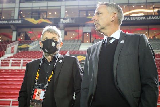 LASK-Vizepräsident Jürgen Werner und Coach Dominik Thalhammer.