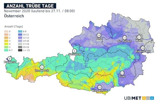 Die Anzahl der trüben Tage im November war im Donauraum und Osten besonders hoch