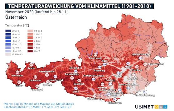 Temperaturabweichungen zum langjährigen Mittel von 1981-2010 im November 2020