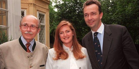 Wien, 10.06.1999: Karl Habsburg (r.) mit Ex-Frau Francesca und Vater Otto († 2011)