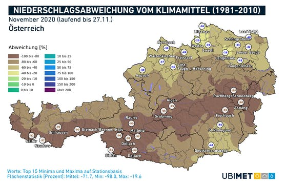 Niederschlagsabweichungen zum langjährigen Mittel von 1981-2010 im November 2020