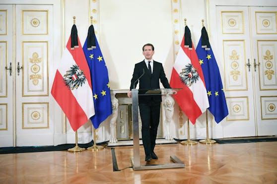 Bundeskanzler Sebastian Kurz (ÖVP) am Dienstag, 3. November 2020, im Rahmen einer Ansprache anlässlich des Terroranschlags in der Wiener Innenstadt.