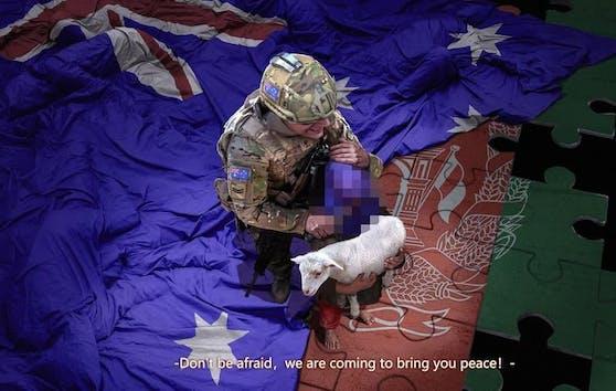 Dieses bearbeitete Bild (von der Redaktion zensiert) zeigt einen australischen Soldaten, der ein blutiges Messer an die Kehle eines Kindes hält.