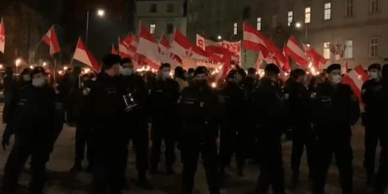 Identitäre demonstrieren am Stephansplatz