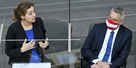 Justizministerin Alma Zadić(Grüne) und Innenminister Karl Nehammer (ÖVP)